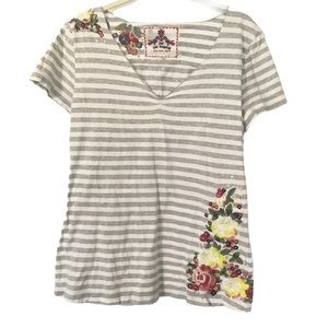 JOHNNY WAS Embroidered Floral Stripe Tee Shirt Top